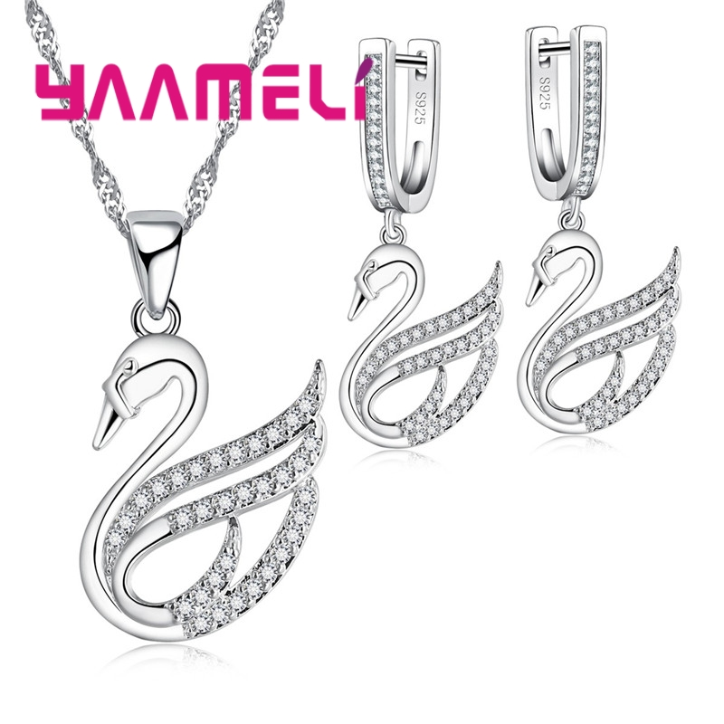 YAAMELI Exquisite Sweat Swan Pattern Jewelry Set For Women Ladies 925 Sterling Silver Crystal Necklace Earrings Set Engagement