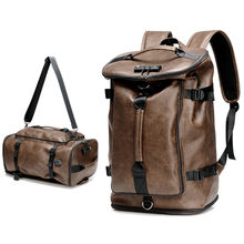 Men Leather Backpack Laptop 17'' Backpacking Waterproof Anti-theft Male Bag Pack USB Charging Travel Large Capacity Outdoor Bags