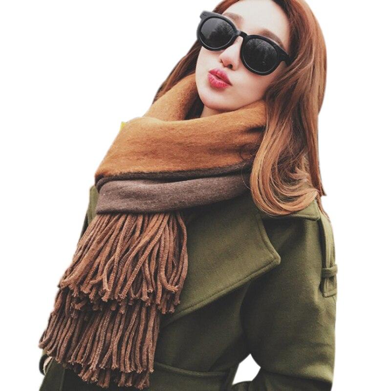 Autumn Winter Warm Women Woolen Scarf Ladies Cashmere Scarves Wide Lattice Long Thickening Warm Shawl Gift