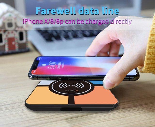 S10 плюс Android 9,0 Smart ТВ коробка Беспроводной быстрой зарядки RK3328 Quad core 4 Гб 64 GB Wi-Fi 4 K H.265 USB3.0 Smart ТВ телеприставке 4