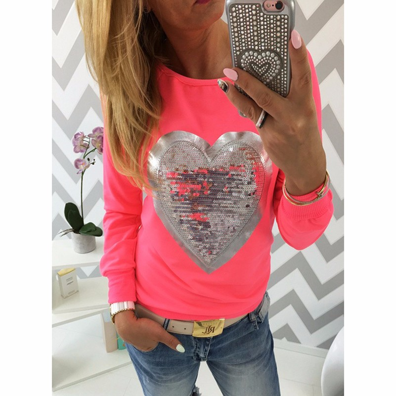 HTB1qKRdLpXXXXXLaXXXq6xXFXXX7 - Fashion Autumn t shirt women heart sequin top round neck