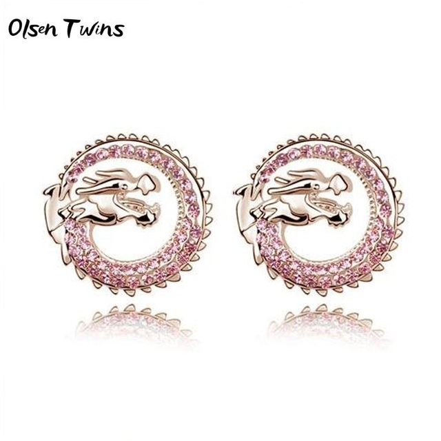 US $4.99 |Olsen Twins Austria Crystal Rhinestone Dragon Stud Earrings for  Girls Brincos Earings Fashion Jewelry Dropshipping-in Stud Earrings from ...