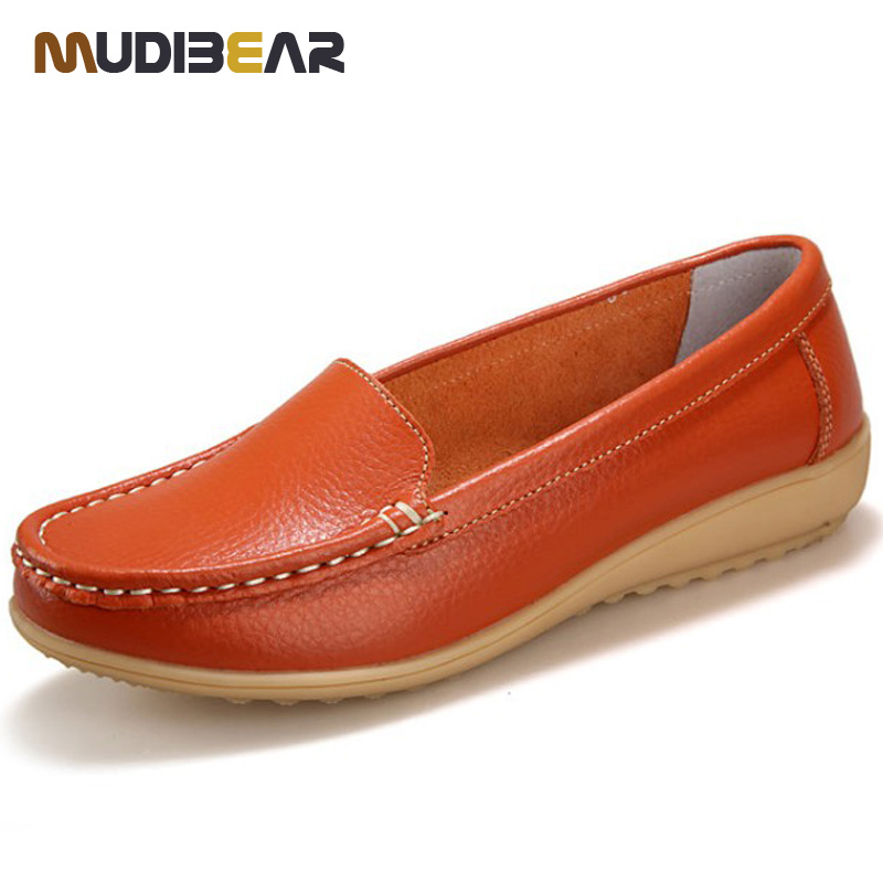 2016 New Women S Genuine Leather Shoes Lady Flat Leather