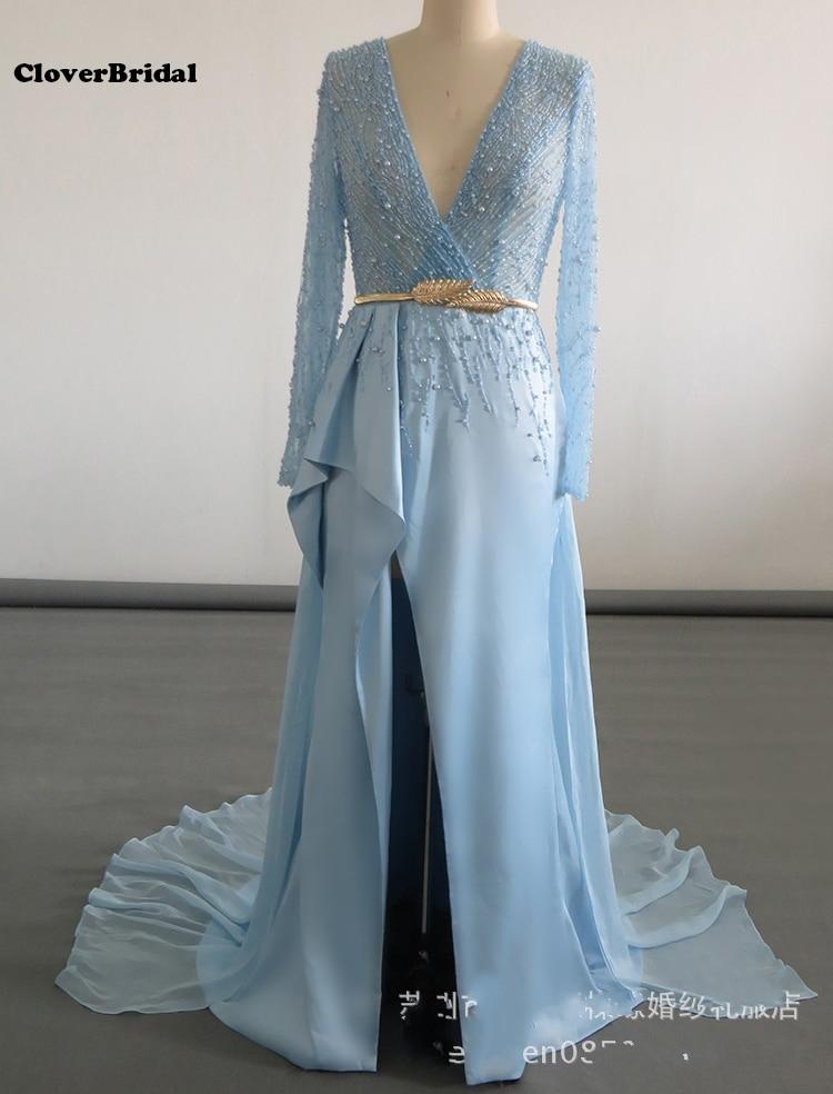 Elie saab sexy col en V profond fente haute ceu azuvestidos longos dernière robe de soirée conçoit robe de soir e robe de nuit bleu ciel