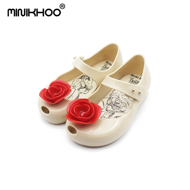 Mini Melissa Beauty and Beast Rose Flower Baby Girls Jelly Sandals 2018 Summer Melissa Jelly Sandals Girls Shoes Soft Non-slip