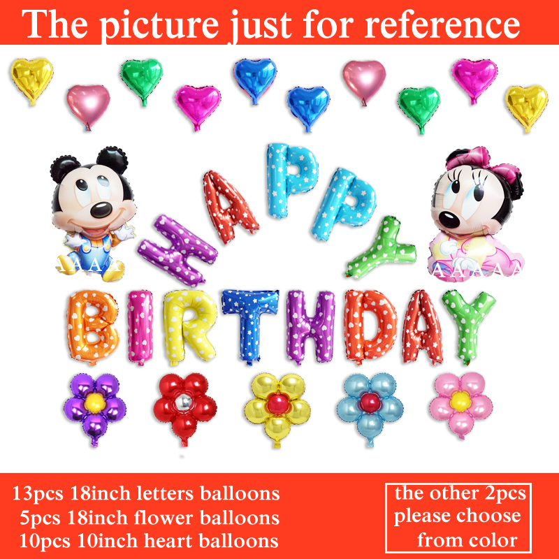 30pcs mixed color foil happy birthday balloons mickey mouse party balloons for c