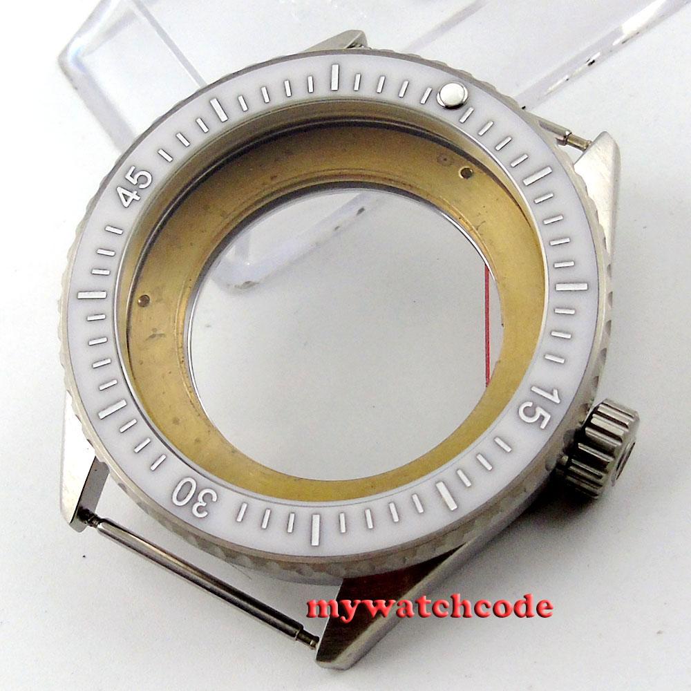 лучшая цена 43mm white ceramic bezel sapphire cystal Watch Case fit ETA 2824 2836 MOVEMENT86