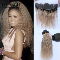 Guanyuhair #1B/27 Honey Blonde Ombre Kinky Curly Hair Weave 3 Bundle With Frontal Closure Ear to Ear Brazilian Human Remy