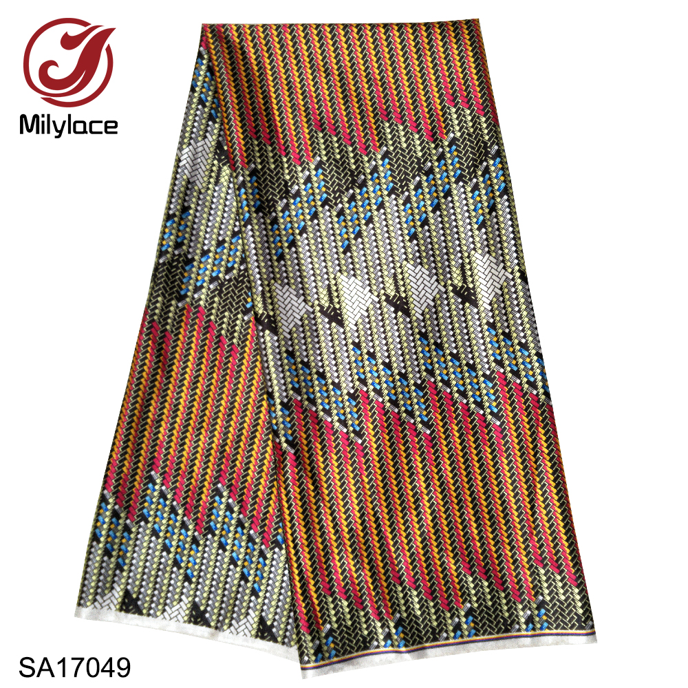 Milylace hot selling african digital printed wax pattern satin fabric fashionable wax pattern design satin fabric SA17049Fabric   -