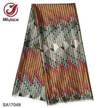 Milylace venda quente digital africano cera impressa tecido de cetim padrão elegante design padrão de cera tecido de cetim SA17049