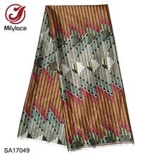 Milylace מכירה לוהטת אפריקאי דיגיטלי מודפס שעוות דפוס סאטן בד אופנתי שעוות דפוס עיצוב סאטן בד SA17049