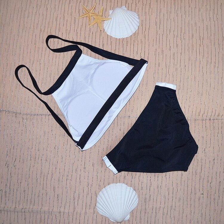 2017 Высокая шея комплект бикини спагетти Бретели для нижнего белья Push Up женщин купальник молодая девушка пляж купальный костюм