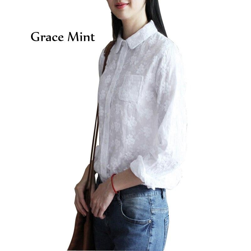 Floral broderie Blouse chemise printemps automne décontracté manches longues coton blanc Blouse hauts S/M/L