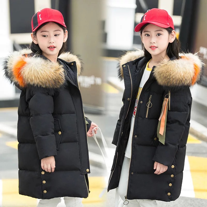 Children Winter Duck Down Girls Thickening Warm Down Jackets Girl long Big Fur Hooded Outerwear Coats Kids 6-14 year Down Jacket a15 girls jackets winter 2017 long warm duck down jacket for girl children outerwear jacket coats big girl clothes 10 12 14 year