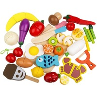 Play Food Set 30 Pcs Wooden Cutting Food Magnetic Fruits and Vegetables Kitchen Set Educational Toy for Preschool Age Kids