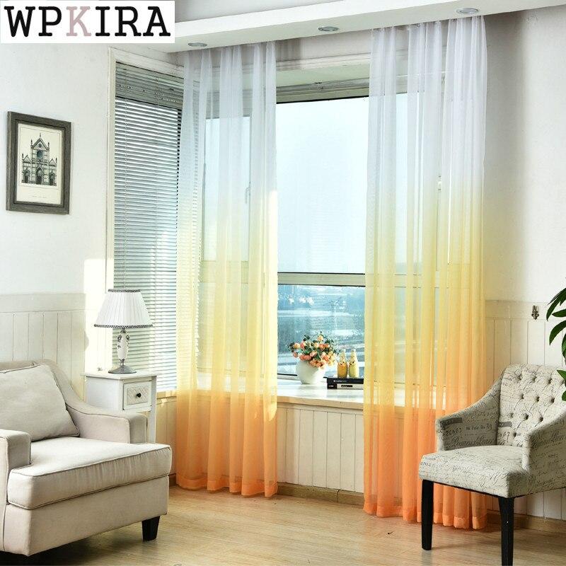 Vorhänge Farbverlauf Druck Voile Grau Fenster Moderne Wohnzimmer Vorhänge  Tüll Sheer Stoffe Rideaux Cortinas 185 U0026 30