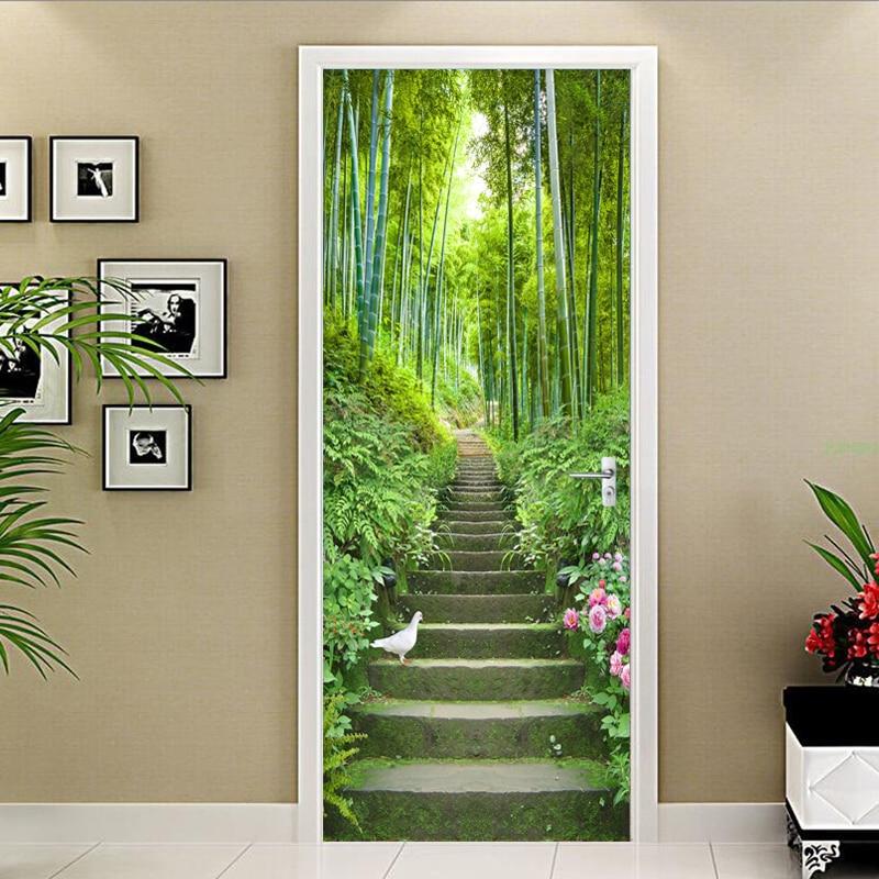 3D Wallpaper Green Bamboo Ladder Photo Wall Door Mural