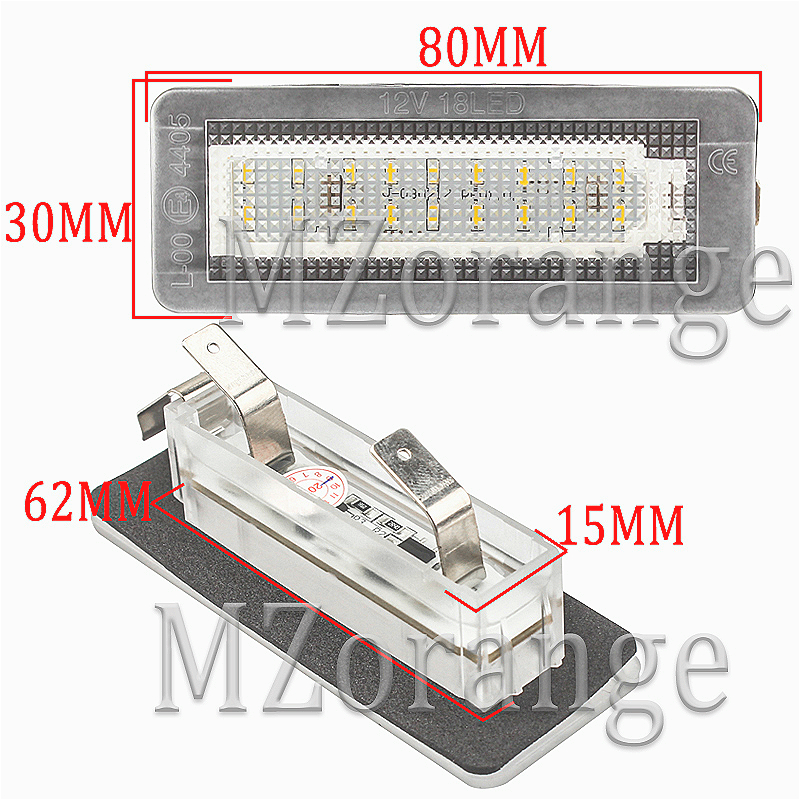 2Pcs 18SMD LED Car Number License Plate Light Lamp Error Free For Benz Smart Fortwo Coupe Convertible 450 451 W450 W453 in Signal Lamp from Automobiles Motorcycles