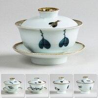 Chinesischen Tee Terrine Set Gaiwan Keramik Teegeschirr Sets Hand bemalt Bone China Blauen und weißen porzellan Kung Fu Tee Set Schüssel