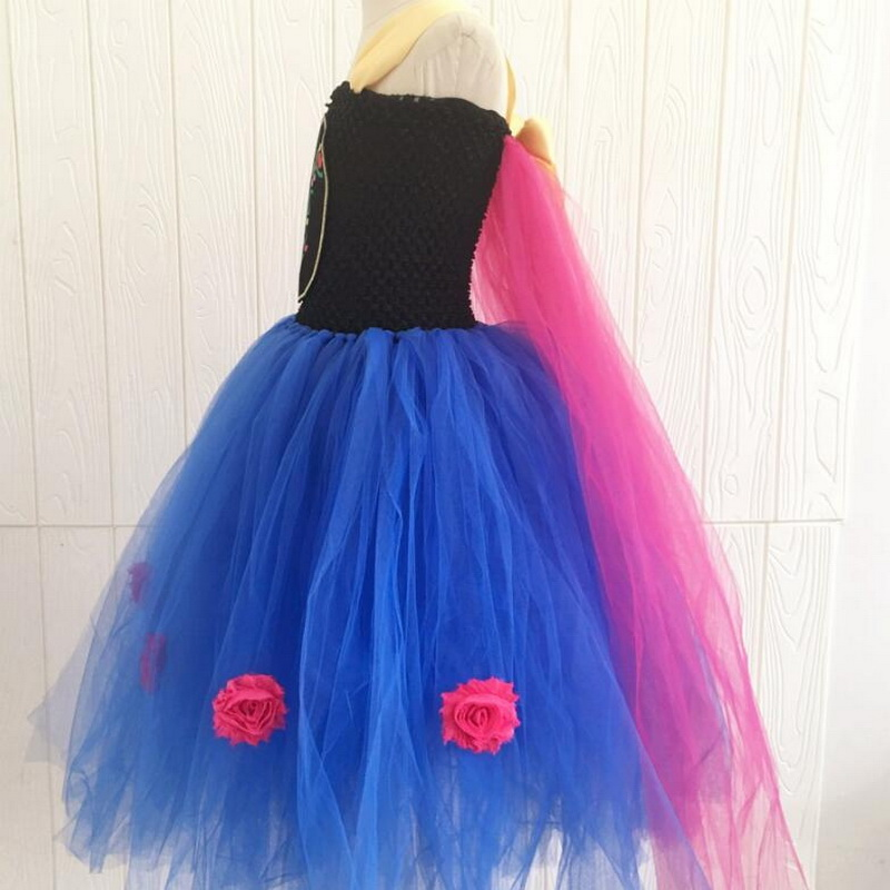 Elsa Anna Costume Flower Girls Anna Tutu Dress With Cape Princess Girls Birthday Party Dress Children Kids Cosplay Clothing 2 8Y in Girls Costumes from Novelty Special Use