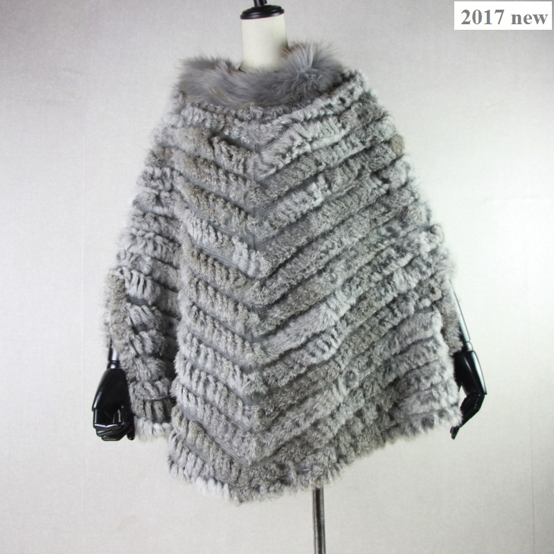 Harppihop New Women Fashion Pullover Knitted Genuine Rabbit Fur Raccoon Fur Poncho Cape Real Fur Knit Wraps Triangle Shawls Coat rabbit print pullover