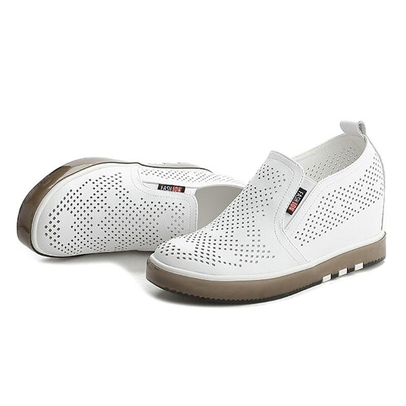 white Casual Blanco Zapatos Dama Bombas 2019 Nuevos De Plataforma Negro Black Transpirables Cuero Mujer Cuñas Cómodos ZUSqv
