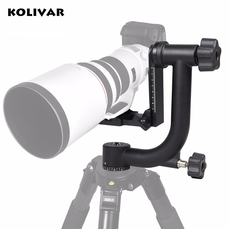 KOLIVAR Professional Alu Gimbal Tripod Head For Heavy Telephoto Lens DSLR Camera 360 Panoramic Swivel Tripod Head up to 22lbs telecope 18x zoom case telephoto camera photography lente lens aluminum tripod for samsung galaxy s6 s7 edge plus s8 s8 pplus