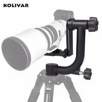 KOLIVAR Professional Alu Gimbal Tripod Head For Heavy Telephoto Lens DSLR Camera 360 Panoramic Swivel Tripod Head up to 22lbs