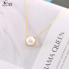 Square pearl design clavicle necklace Exclusive 925 sterling silver plating + high quality zircon A30