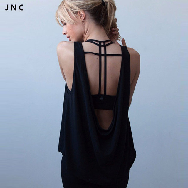 af78a57a24370d JN Collection 2016 New Open Back Lightweight Yoga Tank Top Tee Backless  Black White Quick Dry Workout Running Shirts For Women