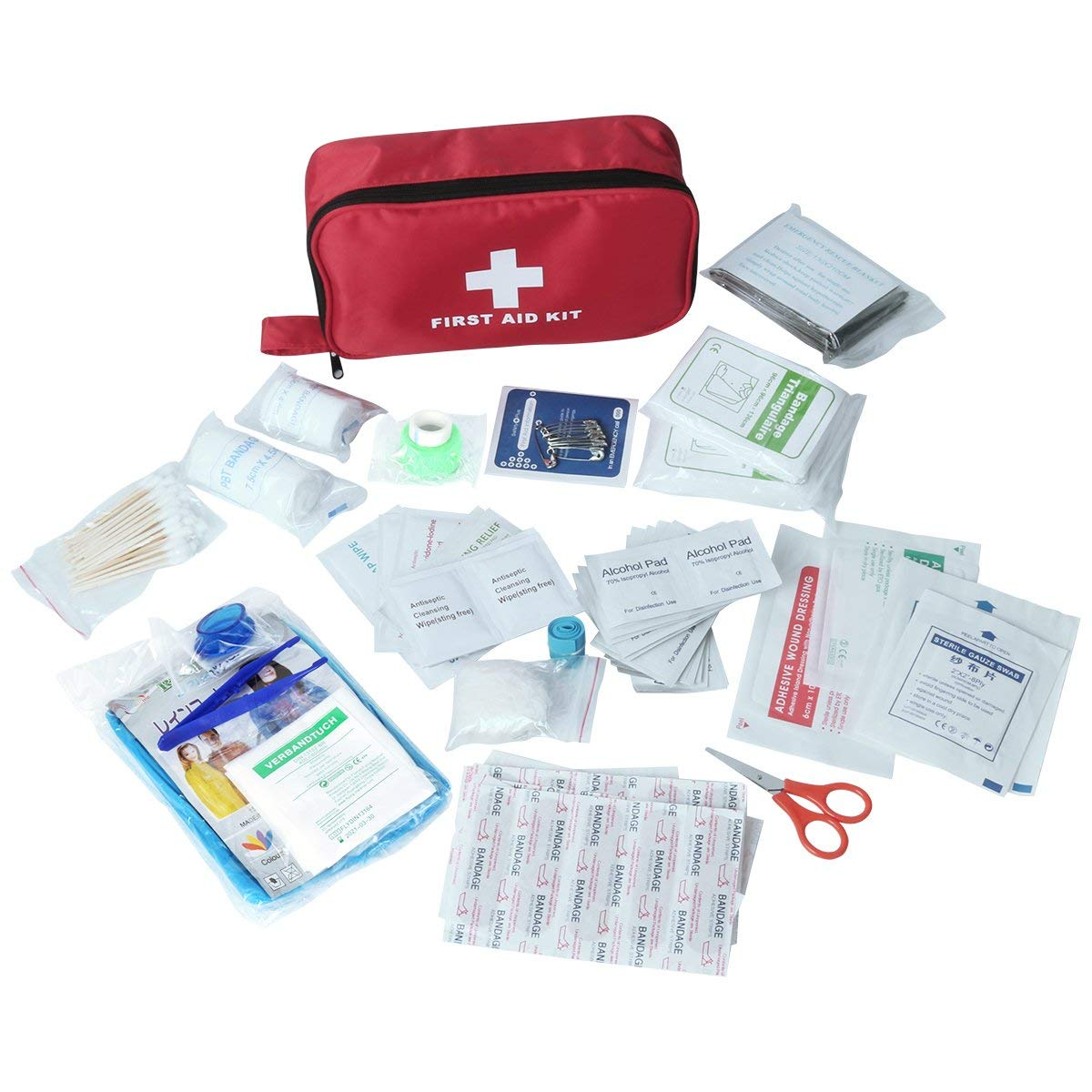US $11 15 8% OFF|MOOL First Aid Kit, 180 PCS Emergency First Aid Kit  Medical Supplies Trauma Bag Safety First Aid Kit for  Sports/Home/Hiking/Ca-in