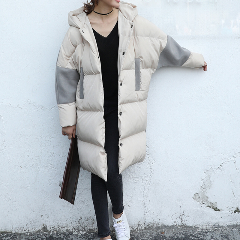 SuperAen Winter New Korean Style Woolen Stitching Hooded Parkas Coat Women Cotton Fashion Casual 2017 Wild Warm Parkas Coat factory outlets 2014 new winter in europe and america women british style stitching cotton quilted jacket short parkas coat