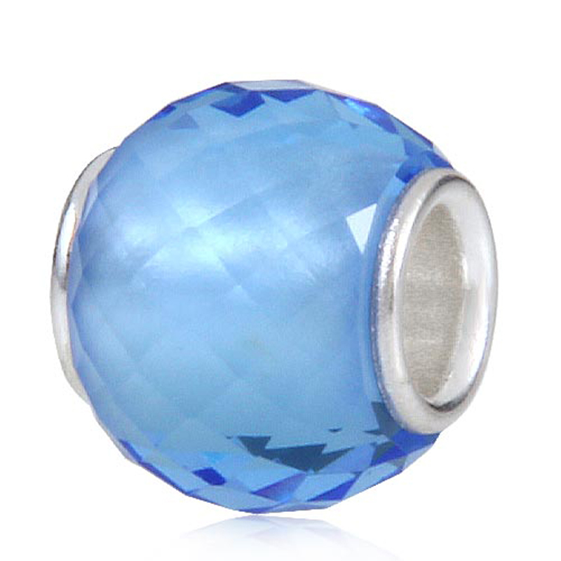 925 Sterling silver faceted lampwork glass beads Fits for Pandora charms Bracelet free shipping