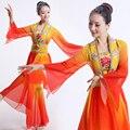 2016 Calssical Hmong Roupas Trajes de Dança Chinesa Dança Quadrado Roupas Performance de Palco Fã Yangko Trajes Cor Gradiente