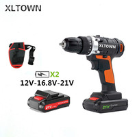 XLTOWN 12/16.8/21Velectric screwdriver with 2 battery rechargeable lithium battery household cordless drill tools power tools