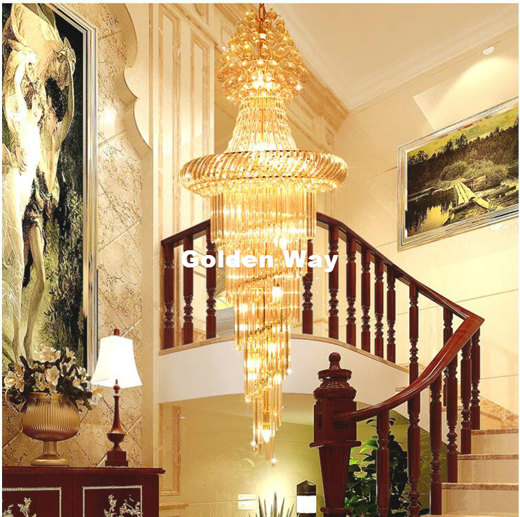 Free Shipping Hanging Golden Luxury Crystal Chandelier K9 Crystal For Staircase Hotel Lobby Double Floor Crystal E14*18 LED Lamp free shipping d450mm luxury k9 crystal chandelier lamp k9 golden crystal hotel hall light led crystal pendant 100