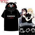 Japanese Kawaii Clothes Kumamon Tops Anime Summer Style Harajuku Shirt With Hooded Short Sleeve Lolita Shirt Girls T-shirt WXC
