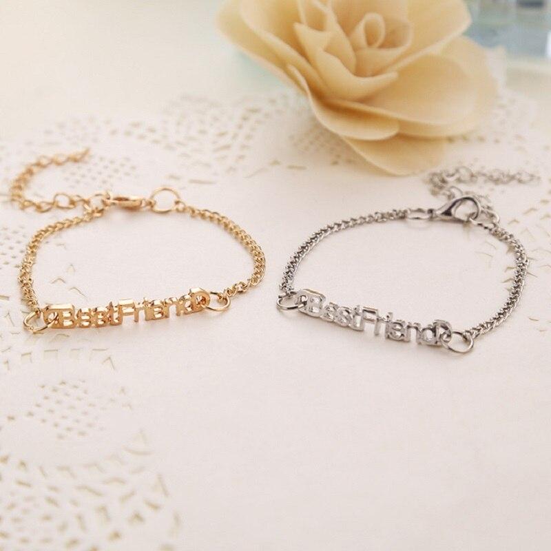 Модни шарм Женска наруквица Златна / Сребрна / Црна Бангле Најбољи пријатељи енглеско писмо правопис најбоље пријатељице заувијек наруквица