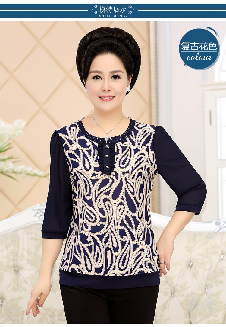 2017 Mother Chiffon Blouses Floral Print Tops Middle Aged Woman's Three Quater Sleeve Tunic Mature Lady Short Shirts O-neck Tops Plus Size Blouse (8)