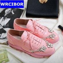 Luxury Rhinestone Oxford Shoes font b Woman b font flats Pink black 2017 Fashion crystal lace