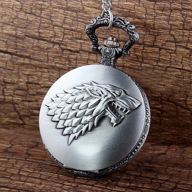 Game of Thrones Gray Tone Honorable Stark House Wolf Quartz Pocket Watch Game Ne