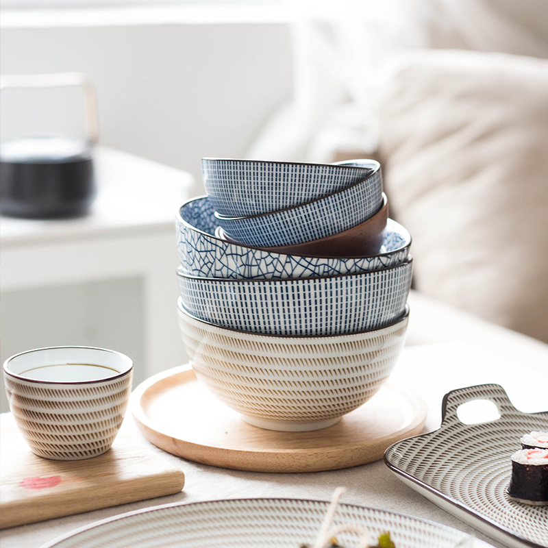 Japanese classical ceramic tableware kitchen soup noodle rice bowl 6 inch 8 inch big ramen bowl spoon and tea cup-in Bowls from Home \u0026 Garden on ... & Japanese classical ceramic tableware kitchen soup noodle rice bowl 6 ...
