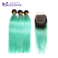 BEAUDIVA Pre Colored Remy Human Hair Bundles With Closure Brazilian Hair Straight 3 Bundles Lace Closure
