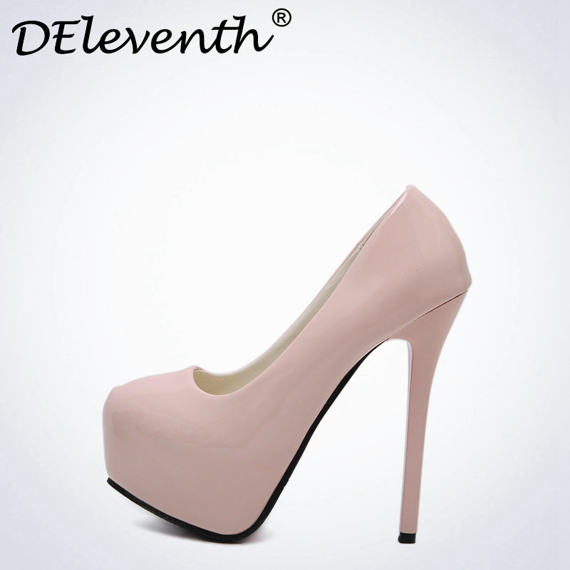 DEleventh Sexy zapatos de mujer de moda 2017 Shallow Round Toe Shoes pumps High Heels wedding Office Career shoes bride Ladies s