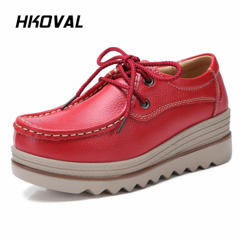 HKOVAL Women Shoes Sneaker Moccasins Flat Loafers Ballet Genuine Leather Platform Woman Shoes Female Women Shoe in Women 39 s Flats from Shoes