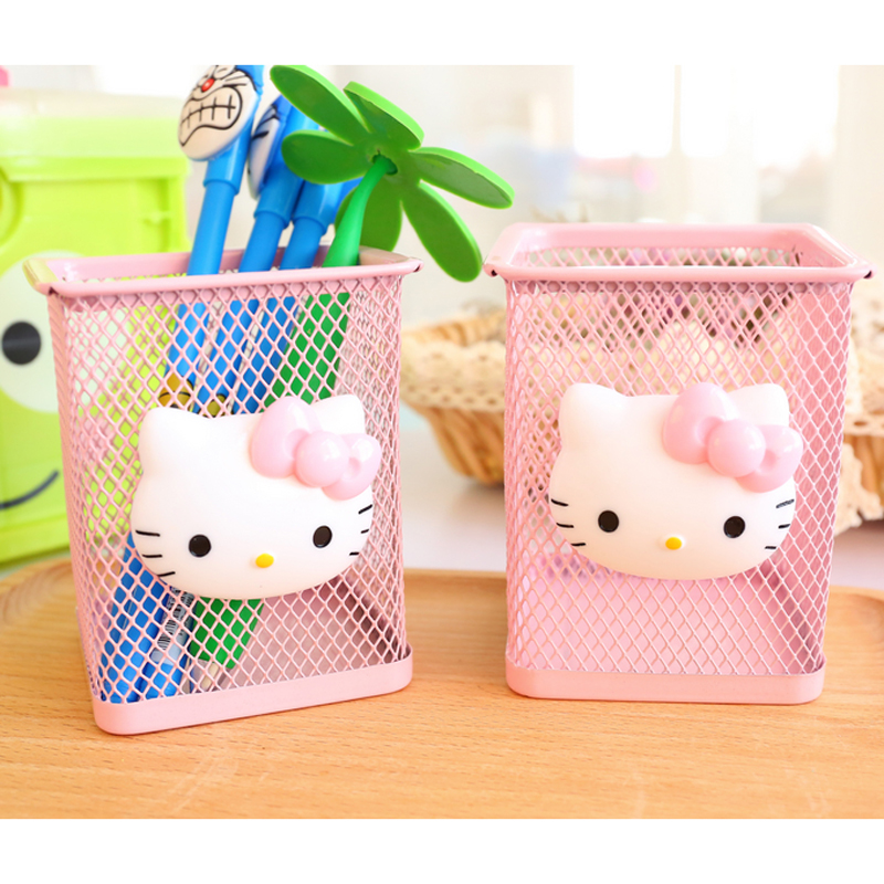 1X Kawaii Hello Kitty Pink Hollow Metal Pen Holder Storage Case Box Manage Student Stationery School Office Supply