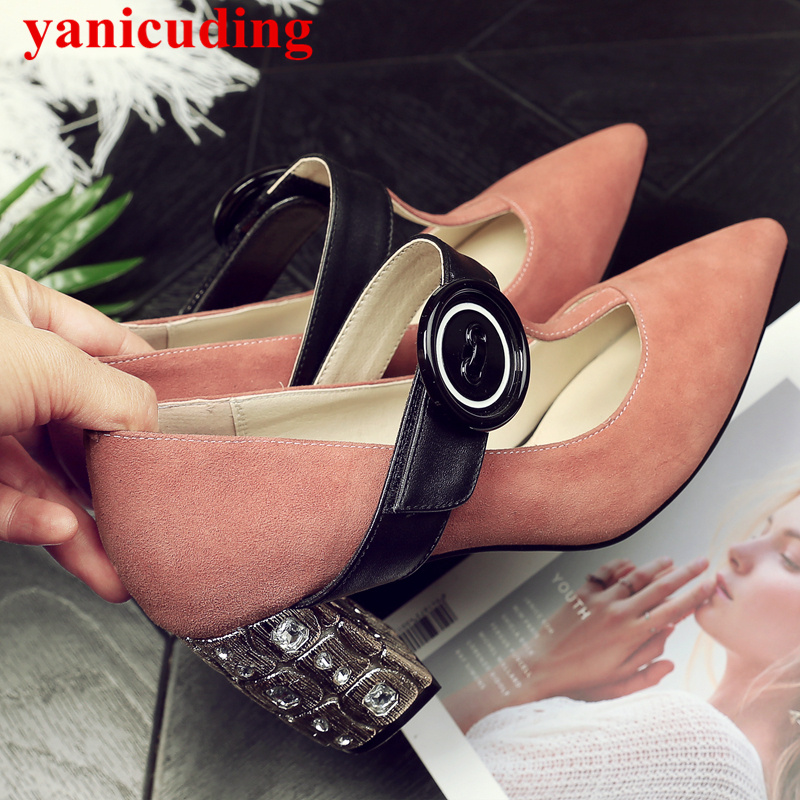 Pointed Toe Crystal Embellished High Heel Kid Suede Women Pumps Traditional Button Decor Hot Brand Women Shoes Hook Loop Closure 2017 new fashion brand spring shoes large size crystal pointed toe kid suede thick heel women pumps party sweet office lady shoe