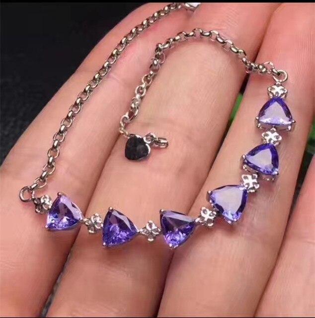 b63b4fabbaf4 Natural azul tanzanita pulsera joya piedra preciosa natural 925 pulsera  elegante simple triángulos joyería fina femenina