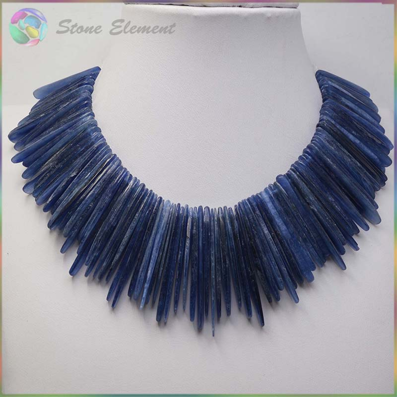 Natural Semi Precious Stone Kyanite Cyanite Disthene Anomalistic Slice Oval Beads 30m 40mm Strand Length 8