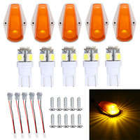 5pcs T10 5 SMD 5050 LED Auto Car Truck Semi Trailer Amber Cab Marker Roof Top